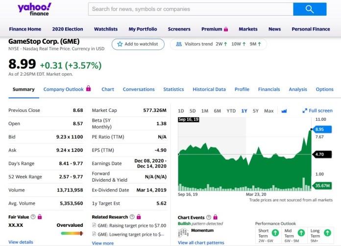 GameStop Stock Price 9/17/20