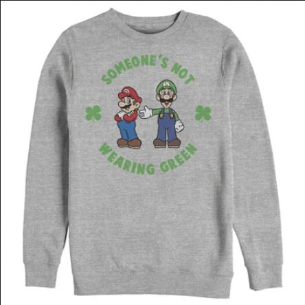 Nintendo Men's Super Mario and Luigi St. Patrick's Not Wearing Sweatshirt
