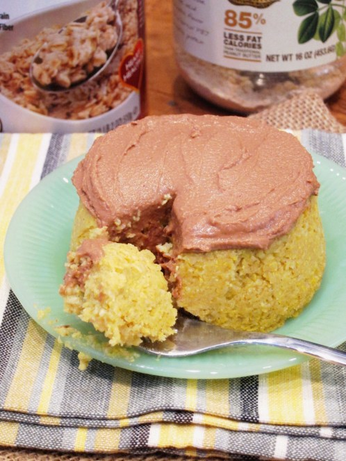 Yellow Cake Baked Oatmeal with Chocolate PB2 Frosting by The Oatmeal Artist