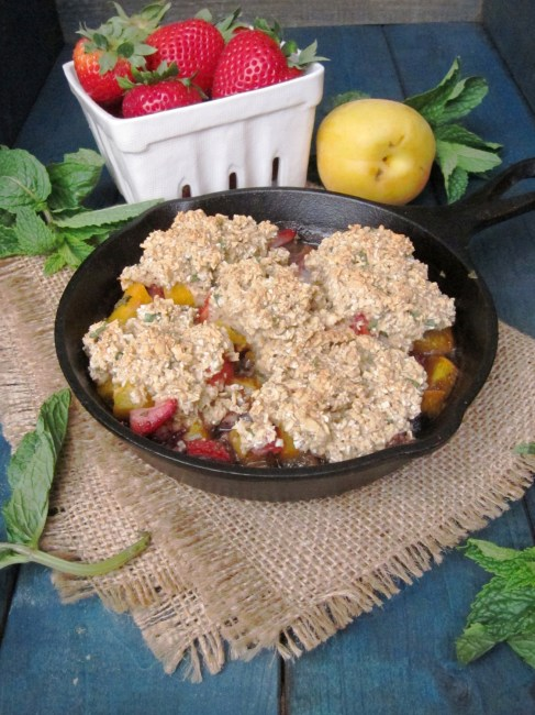 Strawberry Apricot Mint Breakfast Cobbler - The Oatmeal Artist