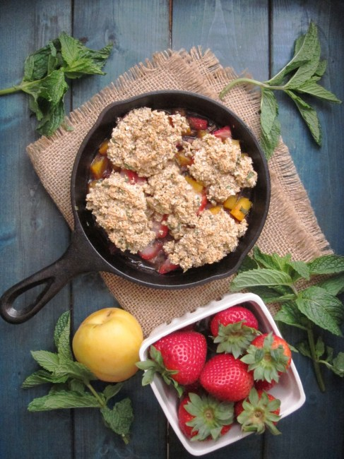 Strawberry Apricot Mint Breakfast Cobbler