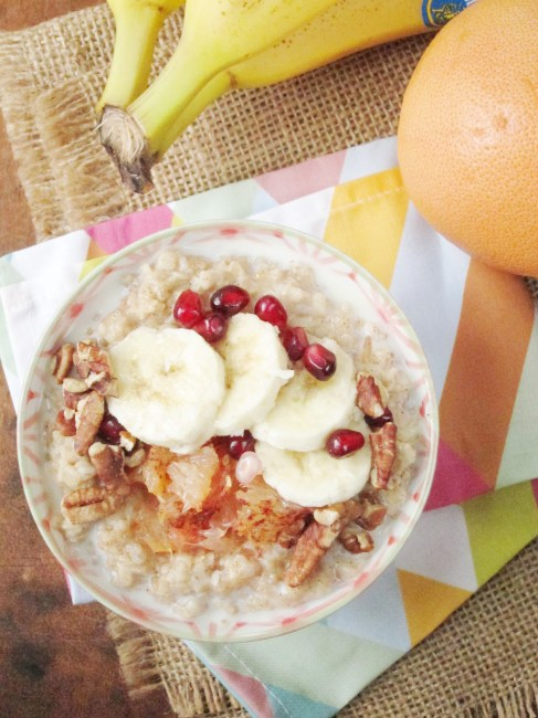 Broiled Grapefruit and Banana Oatmeal - The Oatmeal Artist #vegan