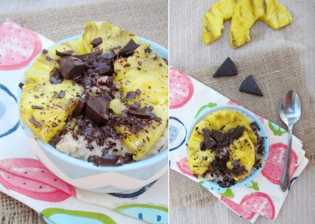 Grilled Pineapple and Dark Chocolate Oatmeal #oatmealartist #vegan