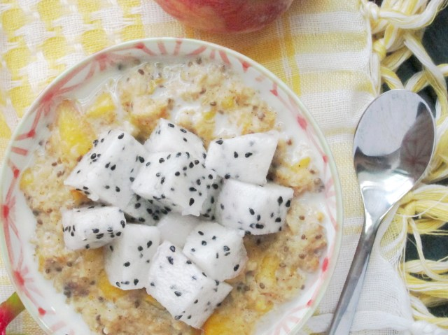 Spiced Peach and Dragon Fruit Oatmeal