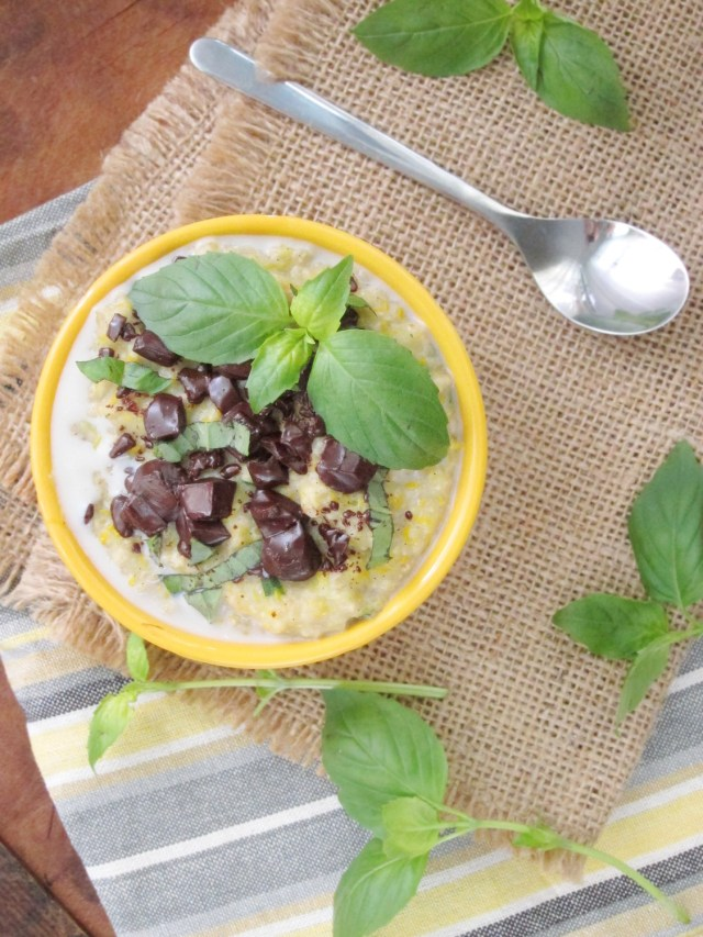 Basil Chocolate Zucchini Oatmeal #vegan