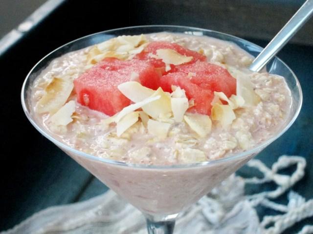 Watermelon Coconut Overnight Oatmeal #vegan. #oatmealartist