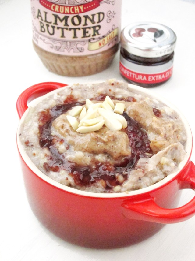 Applesauce Ancient Grain Oatmeal with Cherry Jam and Almond Butter #oatmealartist