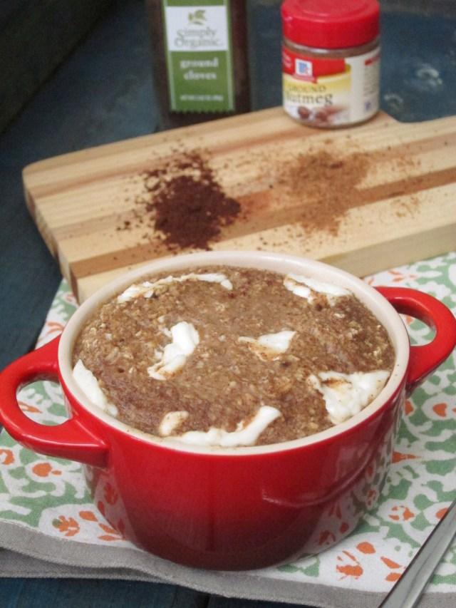 Banana Spice Cake Baked Oatmeal with Cream Cheese #oatmealartist #vegan