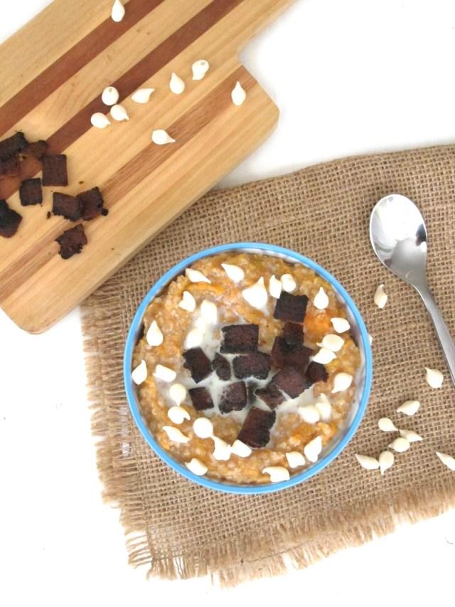 Sweet Potato, Bacon, and White Chocolate Oatmeal #vegan