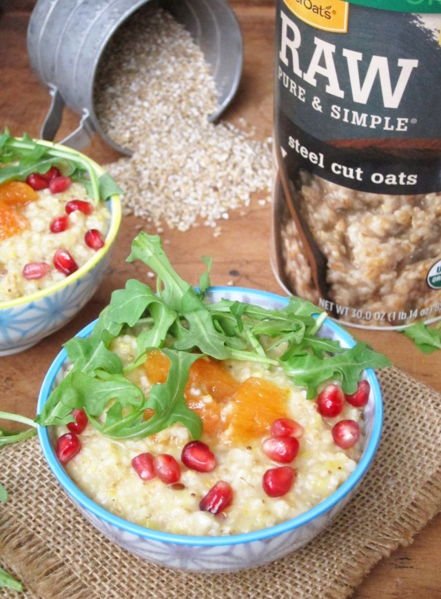 Savory Citrus Arugula Steel-Cut Oatmeal by the Oatmeal Artist