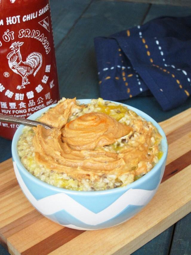 Mango Oatmeal with Sriracha PB2 #OatmealArtist #Vegan