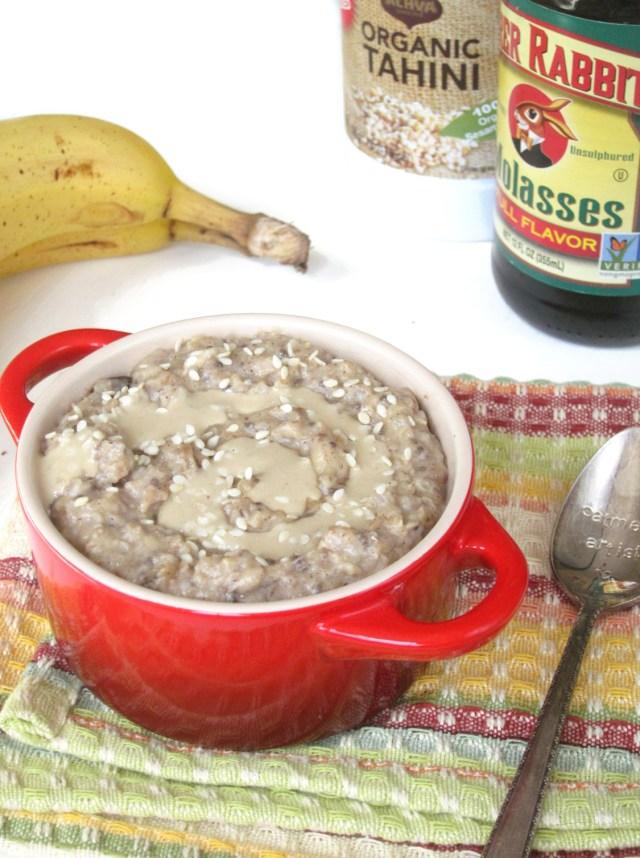 Molasses Tahini Oatmeal #OatmealArtist #Vegan