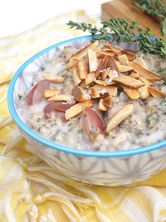 Salted Almond, Grape, and Thyme Oatmeal by the #OatmealArtist #vegan