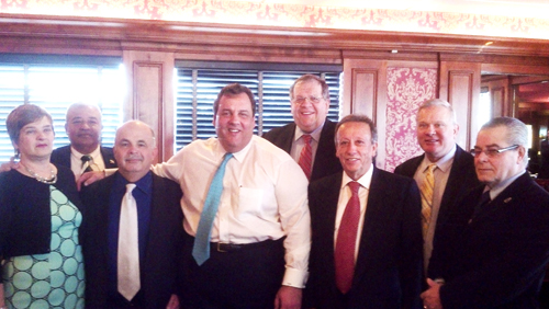 Photo courtesy Town of HarrisonGov. Chris Christie with his Harrison backers.