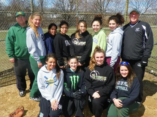 Photo by Jim Hague The Queen of Peace softball team looks to improve this season. Back row, from l., are assistant coach George Steel, Nikki Sammartino, Aisha Perez, Karina Cosme, Lorrenis Regal, Sofia Fernandez, Lindsay Monal and head coach Mike Flynn. Front row, from l., are Gabriella Lombardozzi, Jaime Nemeth, Raychel Piserchia and Amanda Reid.