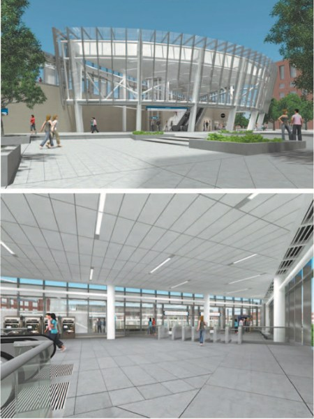 Renderings courtesy Port Authority of N.Y. & N.J. A landscaped plaza (top) will greet commuters to the future Harrison PATH station (bottom) where elevators will convey to platforms.