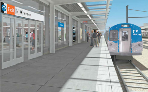 Rendering courtesy Port Authority of N.Y. & N.J. Commuters will find wider platforms and 10-car trains at new Harrison PATH station.