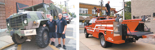 Photos by Karen Zautyk LEFT: Firefighters Artie Bloomer (l.) and Tom Grieb with truck retired from U.S. Army. RIGHT: Grieb aboard 'Quick Attack' vehicle