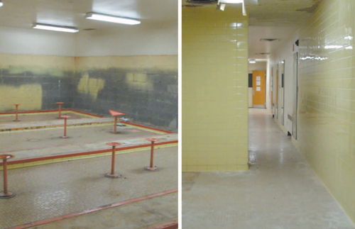 Photos by Ron Leir Long-empty locker room space will be converted to weight room and child study offices.