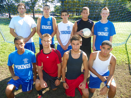 North Arlington looks to be a threat in the NJSIAA North 2, Group I bracket this fall. Front row, from l., are Ed Lozado, Conrad Malinowski, P.J. Sirotiak and Moises Polanco. Back row, from l., are head coach Jesse Dombowski, Ryan McKenna, Ricardo Alves, Joe Cappelluti and Frank Pace.