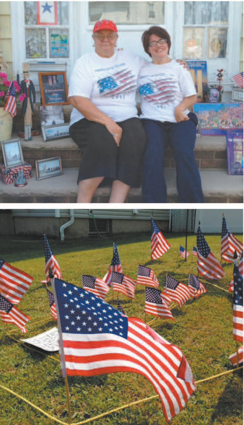 Photos by Anthony Coelho Irene (l.) and Jennifer Greenhalgh and their 9/11 display.