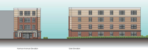 Rendering courtesy Steven Cohen Architect's rendering showing front and side perspectives of senior residence to be built in Harrison.