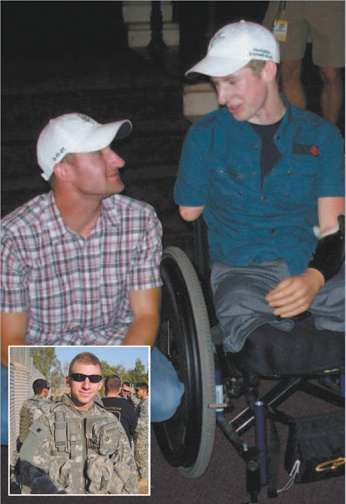 Photos courtesy Marrocco family Benefi t for Sgt. Brendan Marrocco, shown with his brother Michael, will be held at Scots Club on Oct. 19. Inset: Brendan on duty in Iraq.