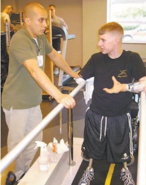 Photo courtesy Marrocco family Brendan Marrocco at Walter Reed prior to double-arm transplant.