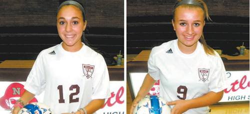 by Jim Hague Senior Natalie Melillo (l.) and junior Victoria Kealy (r.) have combined to score 20 goals and collect 11 assists in just six games for the undefeated Nutley girls' soccer team, enjoying a 5-0-1 start thus far.