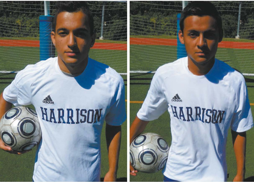 Photo courtesy Jim Hague LEFT: Senior Jose Neto scored his 26th goal of the season in Harrison's 4-0 win over Leonia that gave the Blue Tide the NJSIAA North 2, Group II title. RIGHT: Senior Leonardo Trujillo was a dominant force in Harrison's 4-0 win over Leonia last week to capture the NJSIAA North Jersey Section 2, Group II state championship.