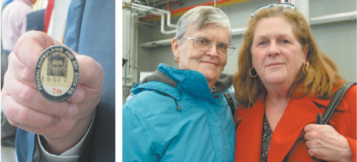 Photos by Ron Leir LEFT: Kevin Barry shows his dad's Federal Shipyard photo ID. RIGHT: Mary Muldoon (l.) and Kathy Perry were among relatives of the 20 Hudson County victims who attended last week's ceremony.