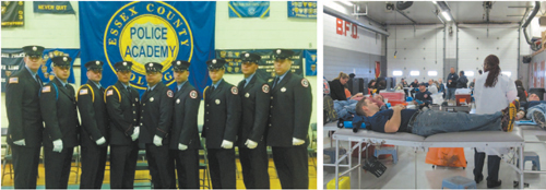 Left photo courtesy Dave Lelinho; right photo by Ron Leir Firefi ghters and civilians, alike, gave blood for Belleville Firefi ghter Kevin Lissenden, second from right, one of nine recruits sworn in last year after completing training.
