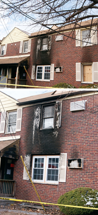 Photos by Karen Zautyk Melted shutters and blackened brick are testimony to Dec. 11 fire that displaced two families.