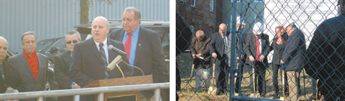 Photos by Ron Leir LEFT: Domus President John Westervelt (at microphone), flanked by Town Council members, to l., and Mayor Ray McDonough, (r.) welcomes guests to groundbreaking. RIGHT: Officials with ceremonial shovels at project site.