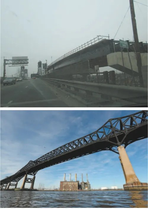 Top photo by Ron Leir, bottom courtesy nj.com Construction of new Hackensack River Bridge (top) is progressing while repairs to Pulaski Skyway should start in a few weeks.