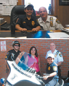 Photos courtesy North Arlington PD TOP: Miguel and the chief share time in Ghione's office. BOTTOM: Miguel tries out a police motorcycle on his special day.
