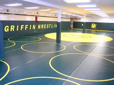 Photo by Jim Hague Queen of Peace now has a state-of-the-art wrestling room for practice and training.