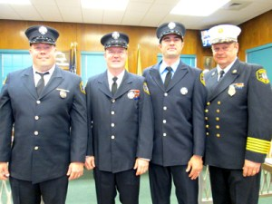Photo by Ron Leir Fire Chief Steven Dyl and the new fire captains.