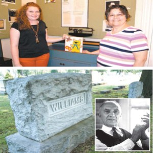 Photos by Karen Zautyk; inset courtesy Google Images TOP: Jesse Gordon (l.) and Gilda Farias Healy of the Meadowlands Museum with some of the artifacts from William Carlos Williams' Rutherford medical office. BOTTOM: The poet/physician is buried in Hillside Cemetery, Lyndhurst. INSET: William Carlos Williams