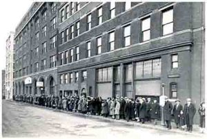Photo courtesy Goodwill NY/NJ This was Goodwill Industries' building on State St. in Brooklyn, the borough where the organization was born. The photo is undated, but from the length of the line and the style of the clothing, we are guessing it was taken sometime during the Great Depression.
