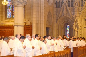 A memorial Mass was celebrated recently in Newark's Cathedral Basilica of the Sacred Heart to honor deceased Archbishops, Bishops and Priests.