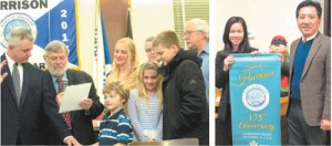Photos by Ron Leir LEFT: Mayor James Fife administers oath of offi ce to newly promoted Fire Capt. Henry Zeinowicz as family members look on. RIGHT: Jia Wen (Karen) Zheng and her advocate Randi Shu display new municipal seal that she designed.
