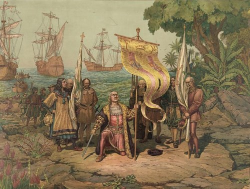 Columbus lands in the New World