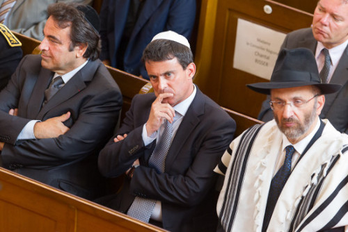 France's Interior minister Manuel Valls and Chief rabbi of France Gilles Bernheim and Joel Mergui President of the central Consistaury inaugurate of the Big Synagogue of Mulhouse and reveals a commemorative tablet further to the fire.Mulhouse East of France the 2/09/2012