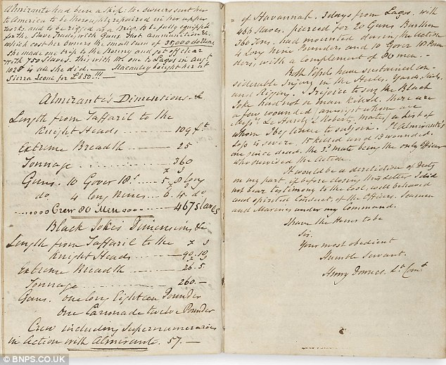 Actual page in Commanding Officer Henry Downe's log