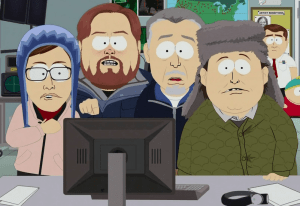 Finding Bigfoot team on South Park, Matt MOneymaker, Ranae Holland, Cliff Barackman and James Bobo Fay