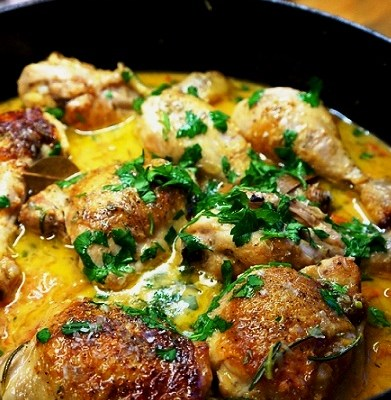 Drunken Chicken in Cider – Chicken cooked in Cider