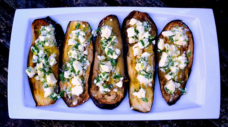 Roasted Aubergine Recipe with Feta & Parsley Dressing