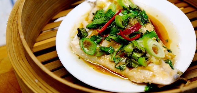 Sea bass Recipe – Steamed Sea bass with Ginger and Sesame Oil Dressing