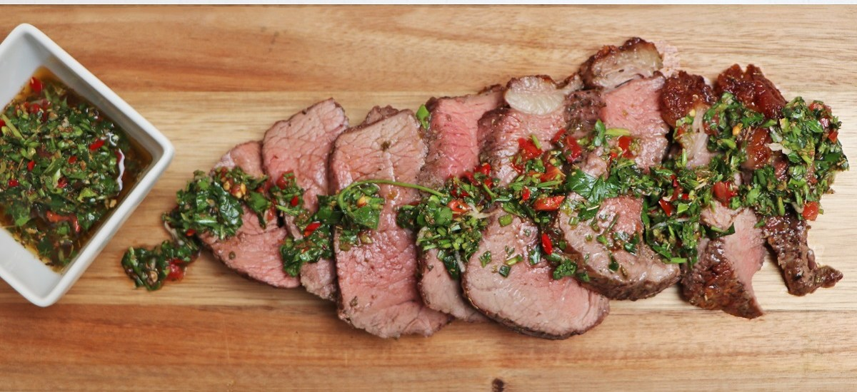 BBQ Rumpsteak with Chimichurri Sauce (churrasco style cooked on rotisserie BBQ)